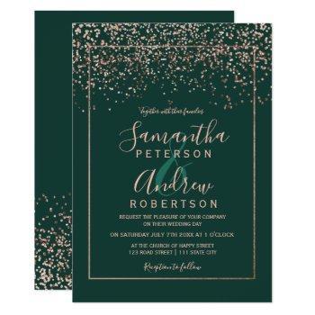 rose gold confetti emerald green script wedding invitation