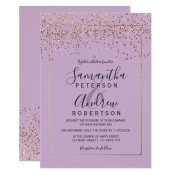 rose gold confetti lavender typography wedding invitation