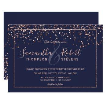 rose gold confetti navy blue script chic wedding invitation