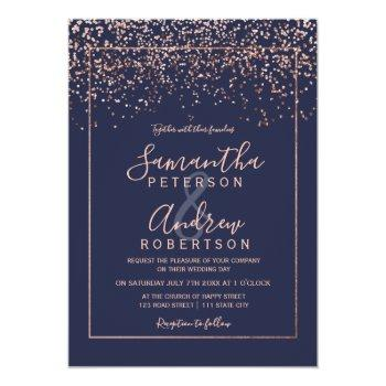 Small Rose Gold Confetti Navy Blue Typography Wedding Invitation Front View