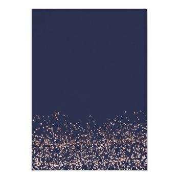 Small Rose Gold Confetti Navy Blue Typography Wedding Invitation Back View