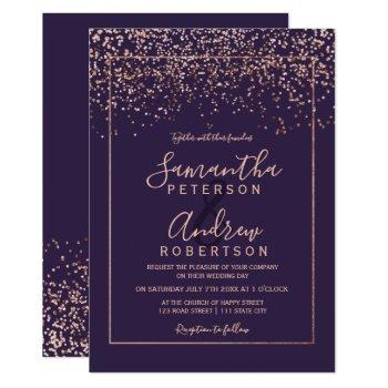 rose gold confetti purple typography wedding invitation