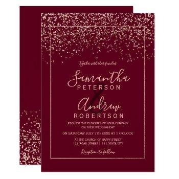rose gold confetti red burgundy typography wedding invitation