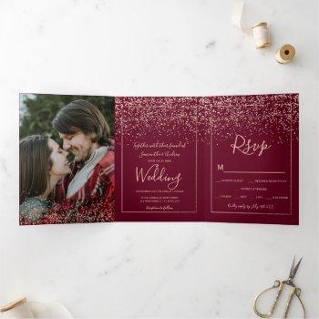 rose gold confetti red burgundy typography wedding tri-fold invitation