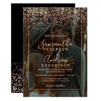 rose gold confetti typography photo wedding invitation
