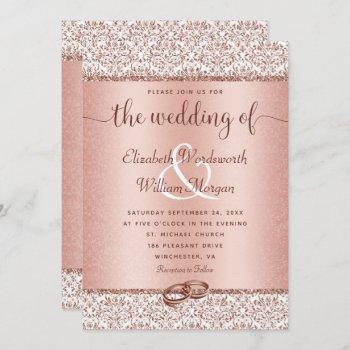 rose gold damask glitter monogram elegant wedding invitation