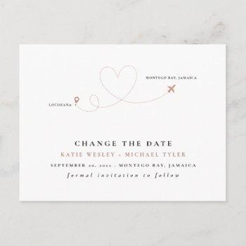 rose gold destination wedding change the date announcement postcard