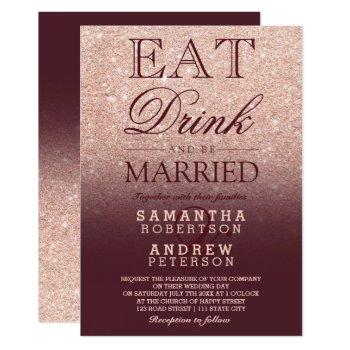 rose gold faux glitter burgundy script wedding invitation