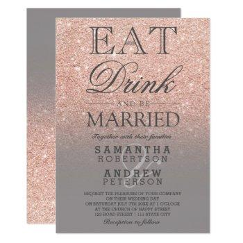 rose gold faux glitter grey ombre script wedding invitation