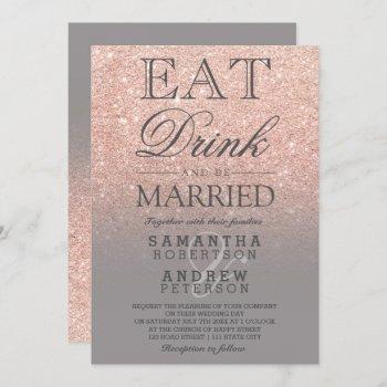 rose gold faux glitter grey ombre script wedding invitation