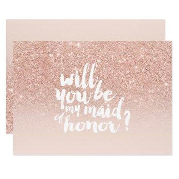 rose gold faux glitter ombre chic maid of honor invitation