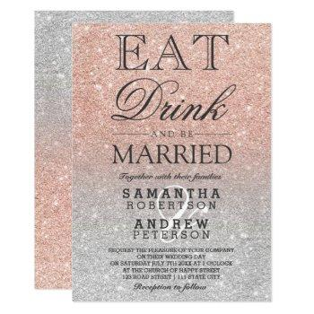 rose gold faux glitter silver ombre script wedding invitation
