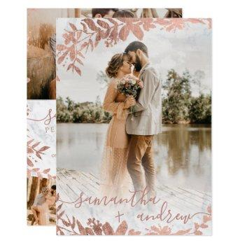 rose gold floral marble script 5 photos wedding invitation