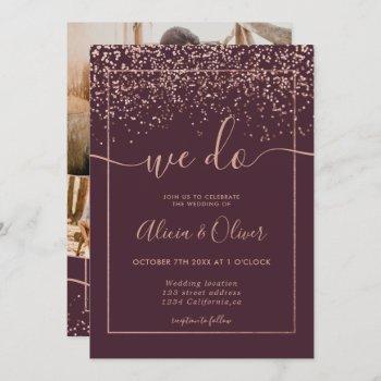 rose gold foil burgundy photo initials wedding invitation