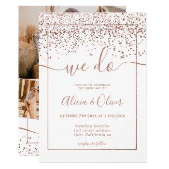 rose gold foil white photo initials wedding invitation
