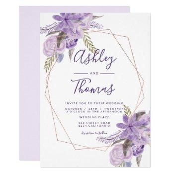 rose gold frame purple floral watercolor wedding invitation