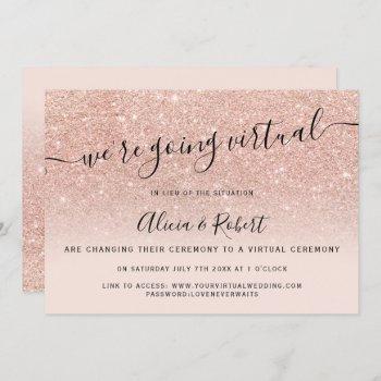 rose gold glitter blush script virtual wedding invitation