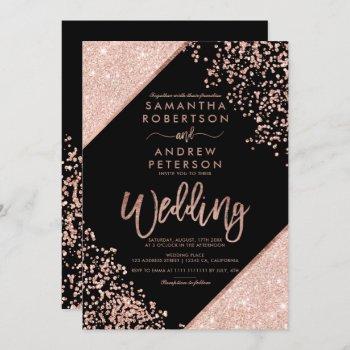 rose gold glitter confetti chic black wedding invitation