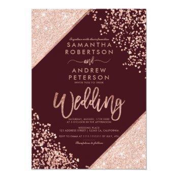 Small Rose Gold Glitter Confetti Chic Burgundy Wedding Invitation Front View