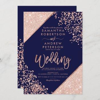 rose gold glitter confetti chic navy blue wedding invitation