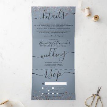 rose gold glitter confetti dusty blue chic wedding tri-fold invitation