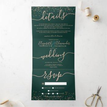 rose gold glitter confetti emerald green wedding tri-fold invitation