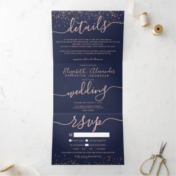 rose gold glitter confetti navy blue seats wedding tri-fold invitation