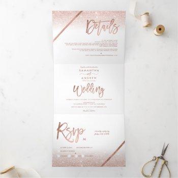 rose gold glitter ombre typography white wedding tri-fold invitation