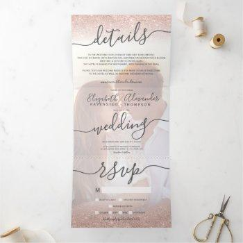 rose gold glitter ombre white script photo wedding tri-fold invitation