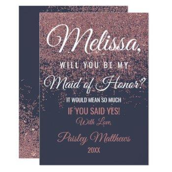rose gold glitter sparkles navy blue maid of honor invitation