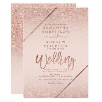 rose gold glitter typography blush pink wedding invitation