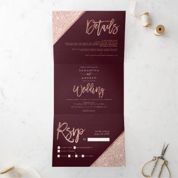 rose gold glitter typography burgundy wedding tri-fold invitation
