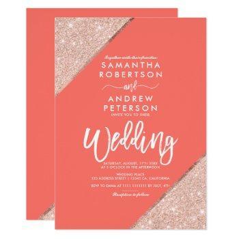 rose gold glitter typography coral wedding invitation