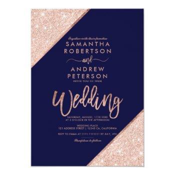 Small Rose Gold Glitter Typography Navy Blue Wedding Invitation Front View