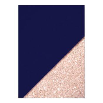 Small Rose Gold Glitter Typography Navy Blue Wedding Invitation Back View