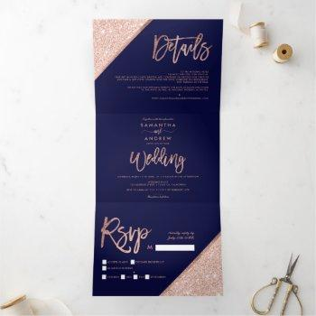 rose gold glitter typography navy blue wedding tri-fold invitation