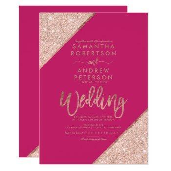 rose gold glitter typography pink wedding invitation