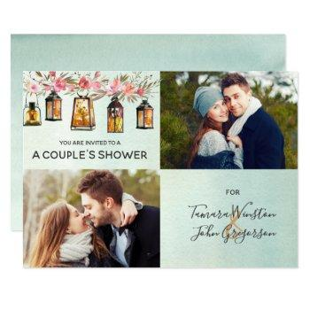 rose gold lantern floral watercolor couples shower invitation