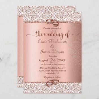 rose gold metallic glitter monogram wedding invitation
