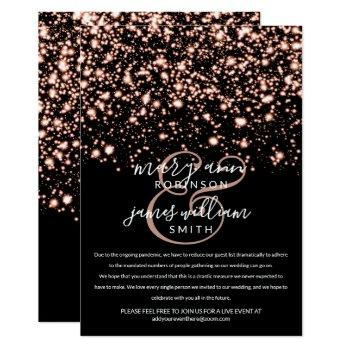 rose gold midnight glam changed reduced wedding invitation