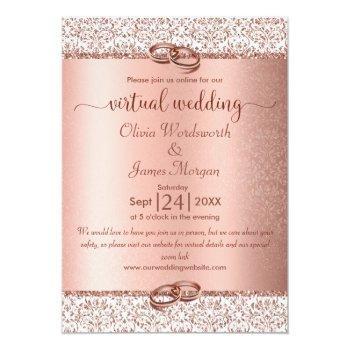 Small Rose Gold Monogram Glitter Virtual Wedding Invitation Front View