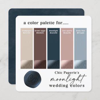 rose gold & navy 2021 wedding color palette card