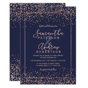 rose gold navy blue confetti typography wedding invitation