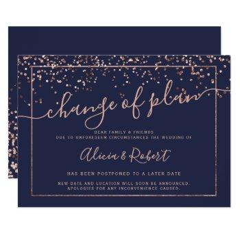 rose gold navy blue script postponed change plan invitation