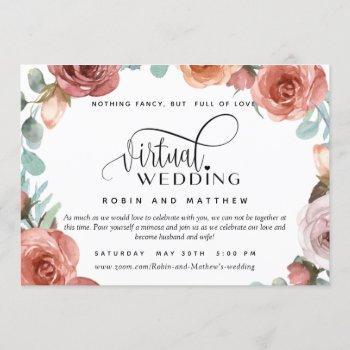 rose gold peach floral  online virtual wedding invitation