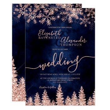 rose gold snow pine navy christmas winter wedding invitation