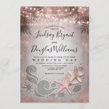 rose gold starfish couple tropical beach wedding invitation