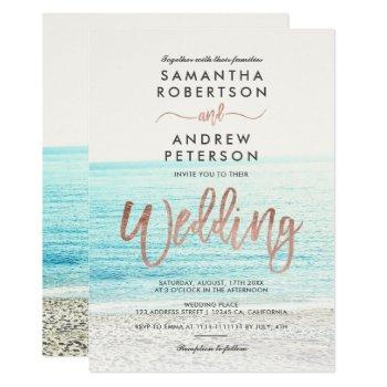 rose gold typography beach photo wedding invitation