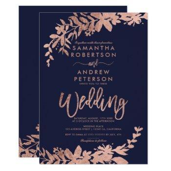 rose gold typography floral navy blue wedding invitation