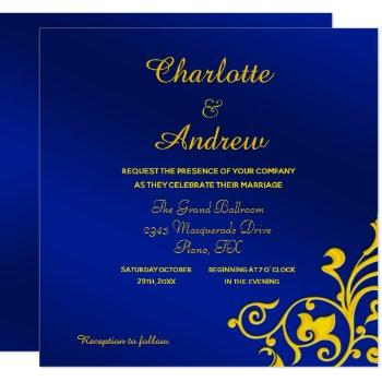 royal blue and gold wedding invitation